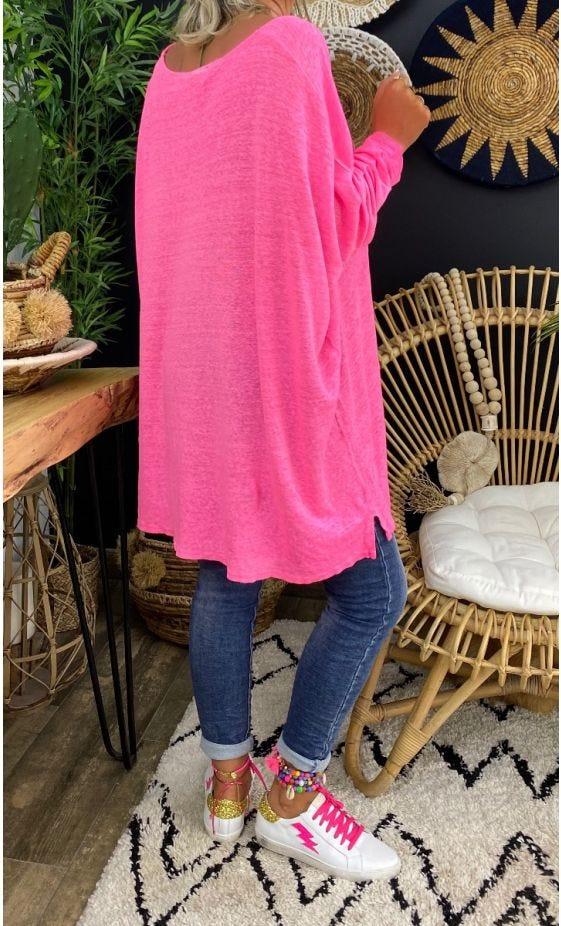 T-Shirt Gabin ML Oversize Lin Rose Fluo Biker Rose Fluo