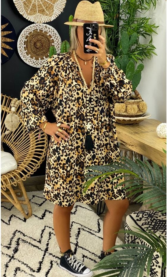 Petite Robe Miya Oversize Camel Léopard