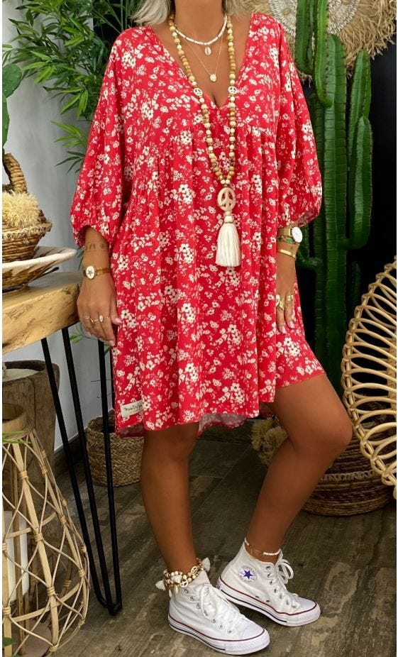 Petite Robe Lucia Oversize Rouge Wildflowers