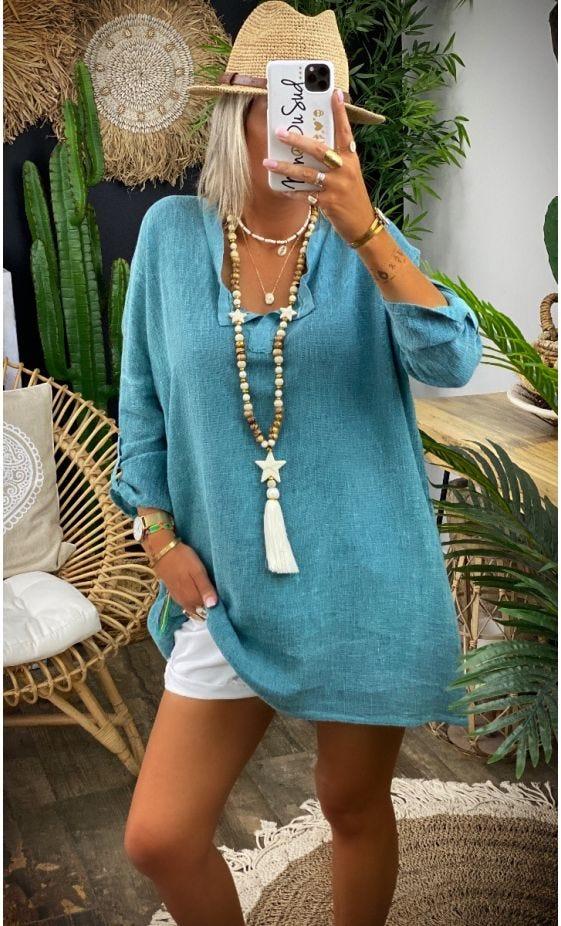 Tunique Betty Oversize Bleu Vert