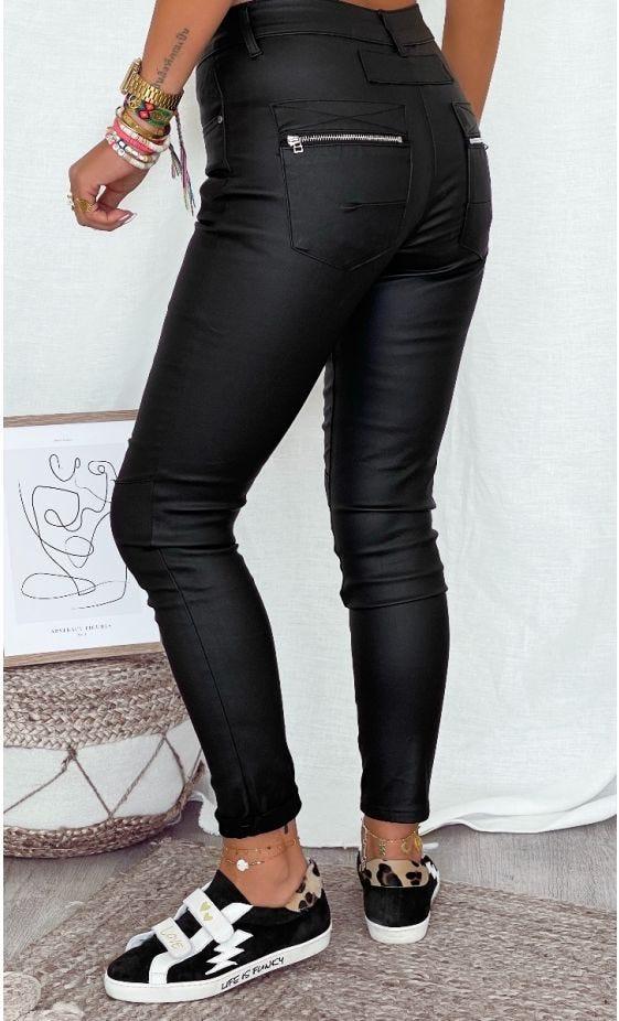 Pantalon Slim Meryl Huilé Noir