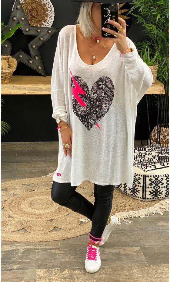 T-Shirt Gabin Oversize Lin Blanc Love Mandala