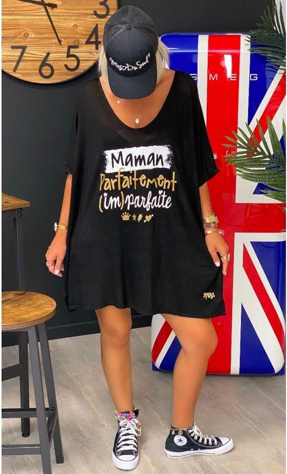 T-Shirt Gabin MC Oversize Lin Noir Maman Parfaitement Imparfaite Or