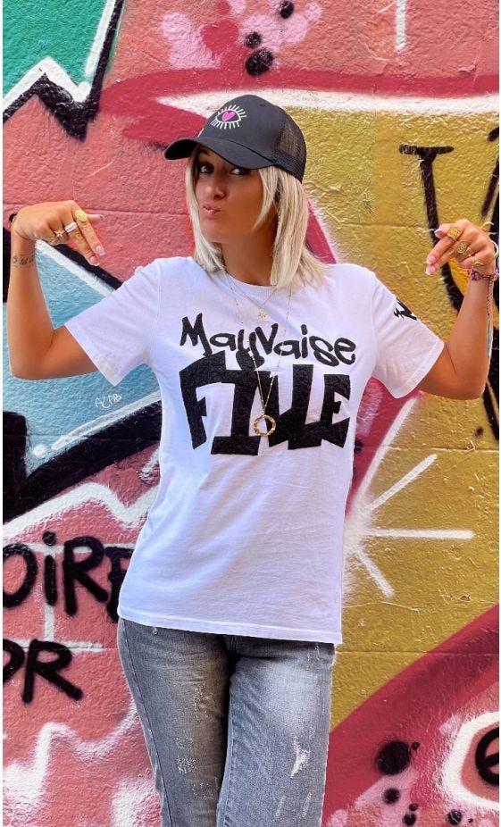 T-Shirt Mayron Blanc Mauvaise Fille Noir