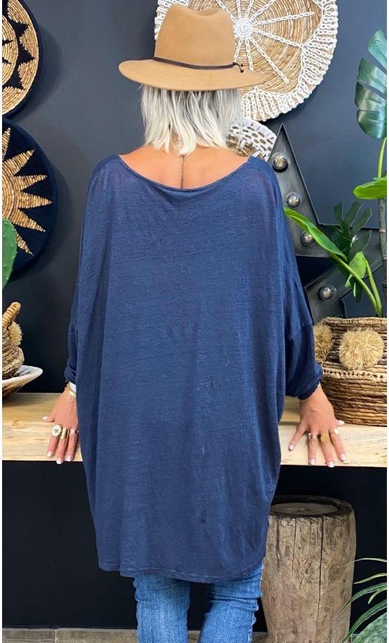 T-Shirt Gabin Oversize Lin Bleu Marine Love Mandala