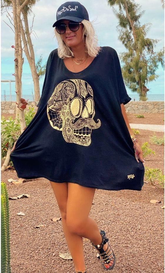 T-Shirt Gabin MC Oversize Lin Noir Hipster Skull Or