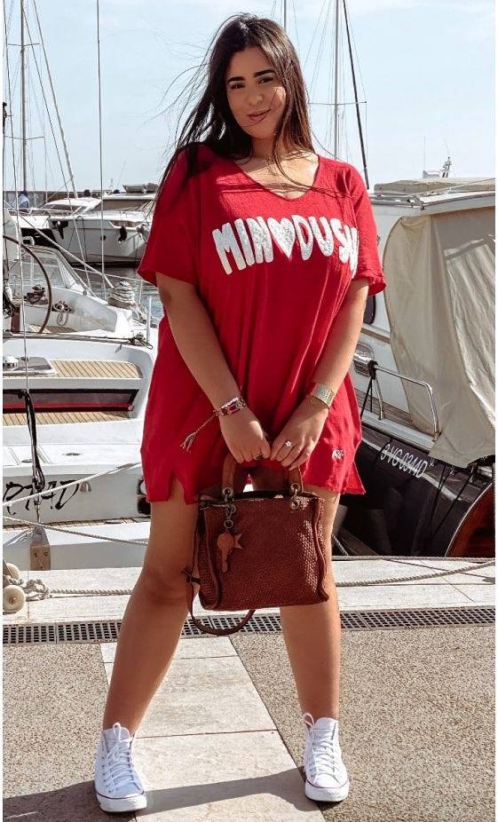 T-Shirt Gabin MC Oversize Lin Rouge MinoDuSud Blanc