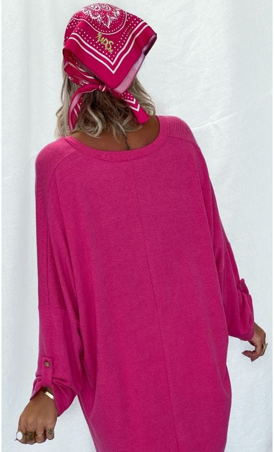 Tunique Betty Oversize Maille Doudou Rose Fuchsia Little Eye Or