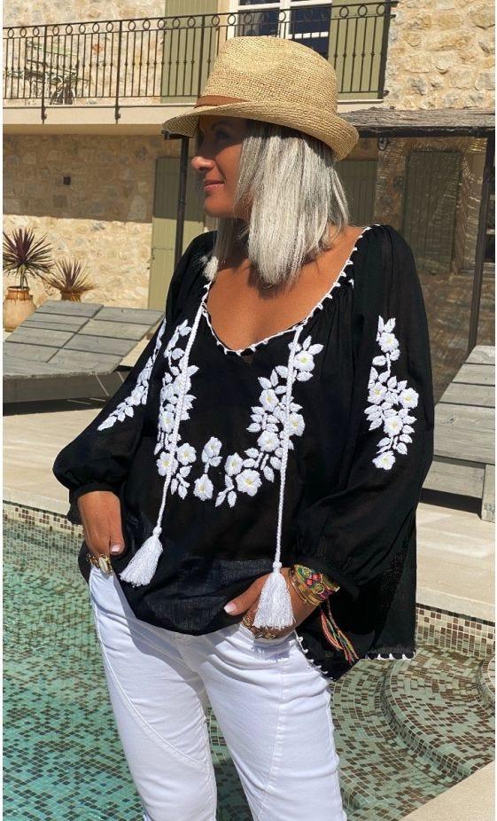 Tunique Andrea Noir Broderie Blanc