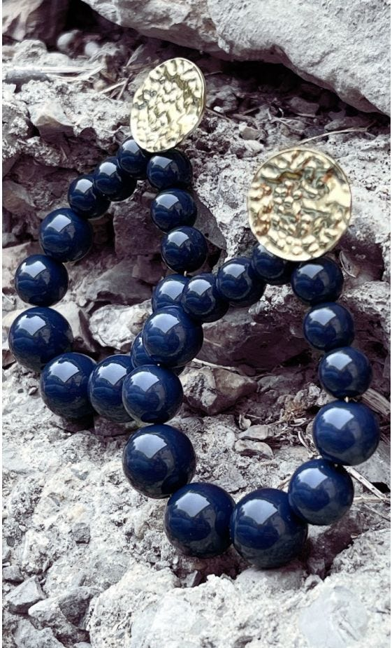 Boucles D'Oreilles Sakura Doré Bleu Marine