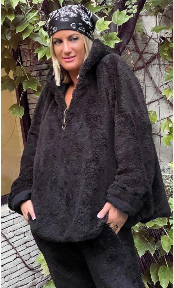 Sweat Polaire Teddy Bear Oversize Noir