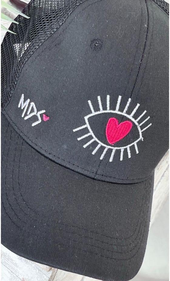 Casquette Sohane Noir Eyelashes Heart Blanc