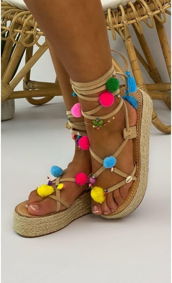 Sandales Compensées Nessa Beige Pompons Multicolor