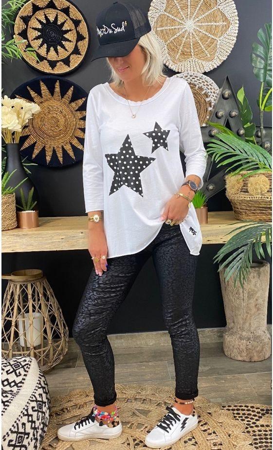 T-Shirt Quentin ML Blanc Etoile Noir Pois Blanc