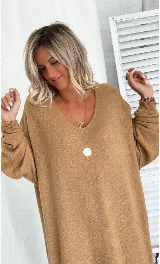 Petite Robe Pull Alcinda Oversize Camel