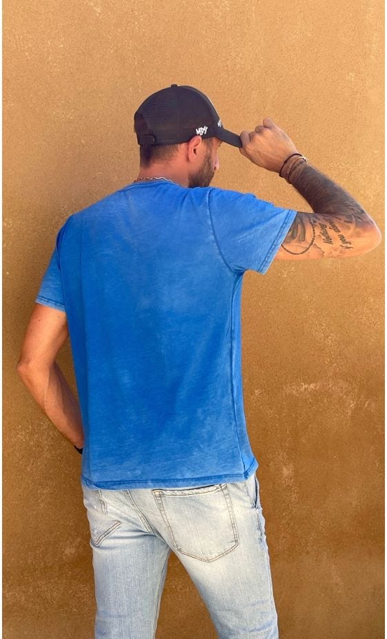 T-Shirt Mayron Bleu Cactus Skull