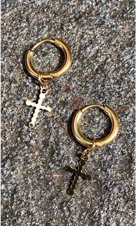Boucles D'Oreilles Atana Doré Little Cross