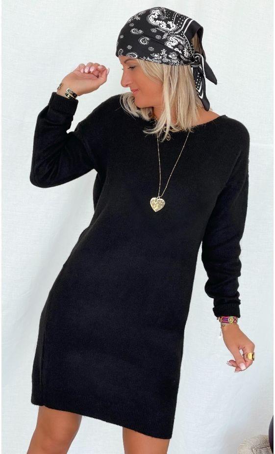 Petite Robe Pull Anis Noir