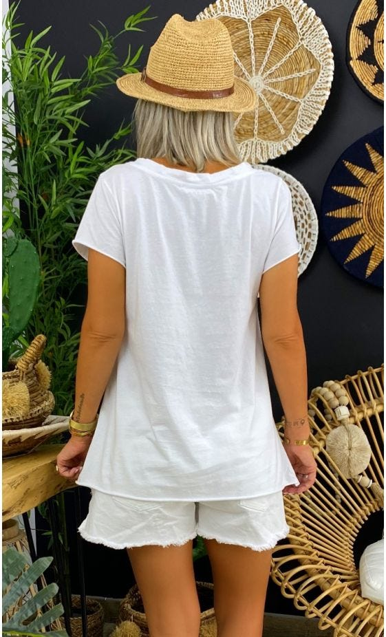 T-Shirt Elio MC Blanc Cupidon Léopard