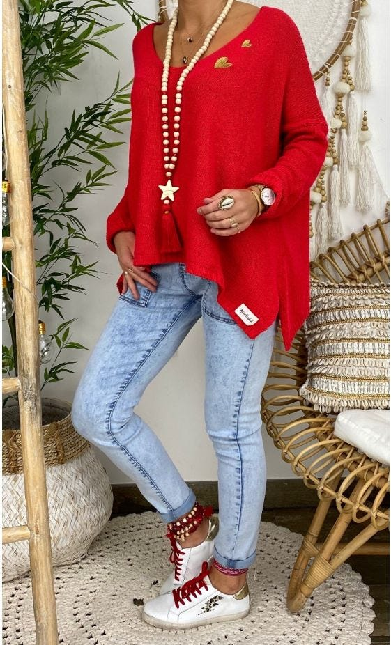 Pull Jules Petite Maille Rouge Little Heart Or