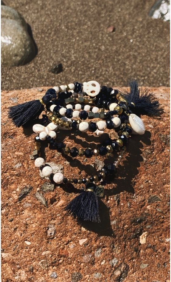 Bracelet De Cheville Magik Twinkle Skull Pompon Noir