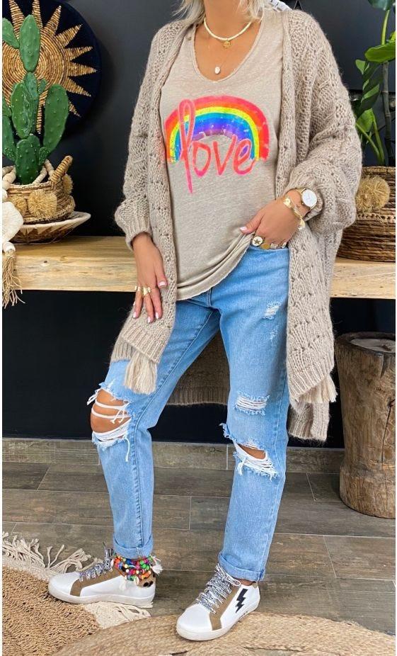 T-Shirt Mylan Taupe Love Rainbow