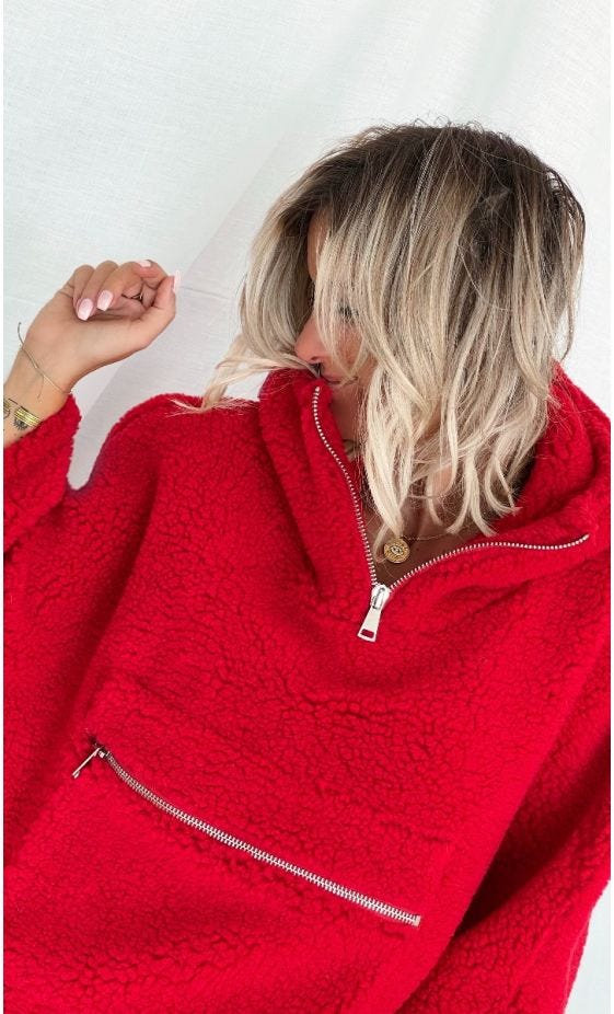 Poncho Darren Polaire Oversize Rouge