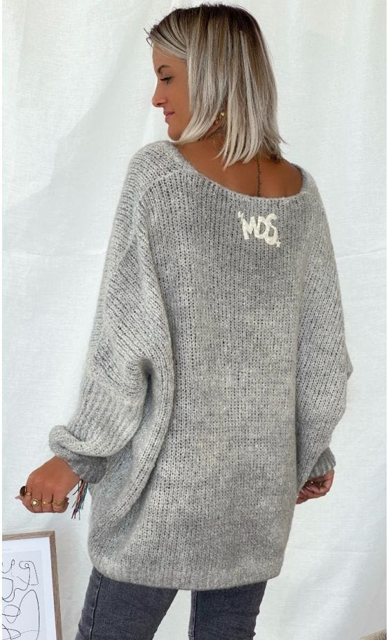 Pull Zack Oversize Gris Clair Made With Love