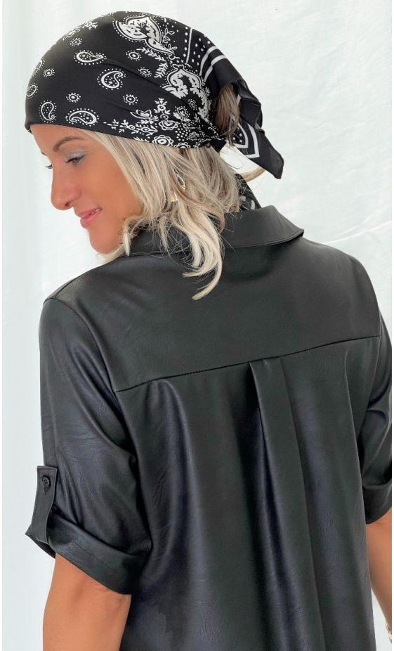 Petite Robe Léa Simili Cuir Noir