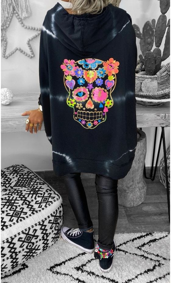 Sweat Fin Camille Oversize Tie and Dye Noir Funny Skull