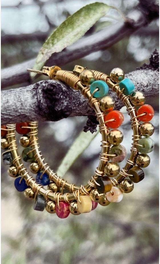 Boucles D'Oreilles Valentina Doré Multicolor
