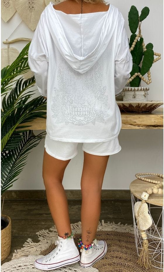 T-Shirt Coco ML Blanc Skull Strass