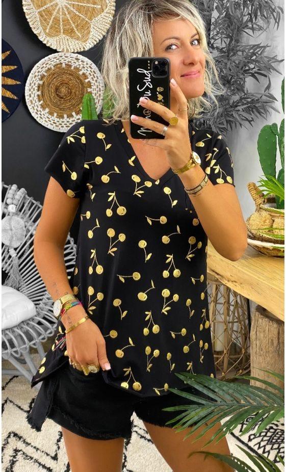 T-Shirt Elio MC Noir Golden Cherry