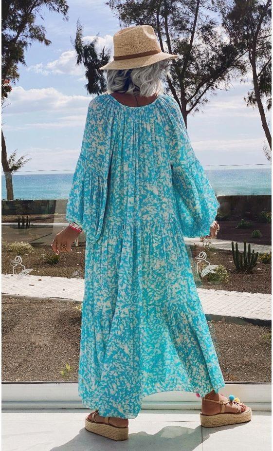 Robe Valou Bleu Turquoise Printed