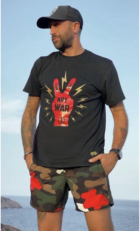T-Shirt Mayron Noir Not War Rouge
