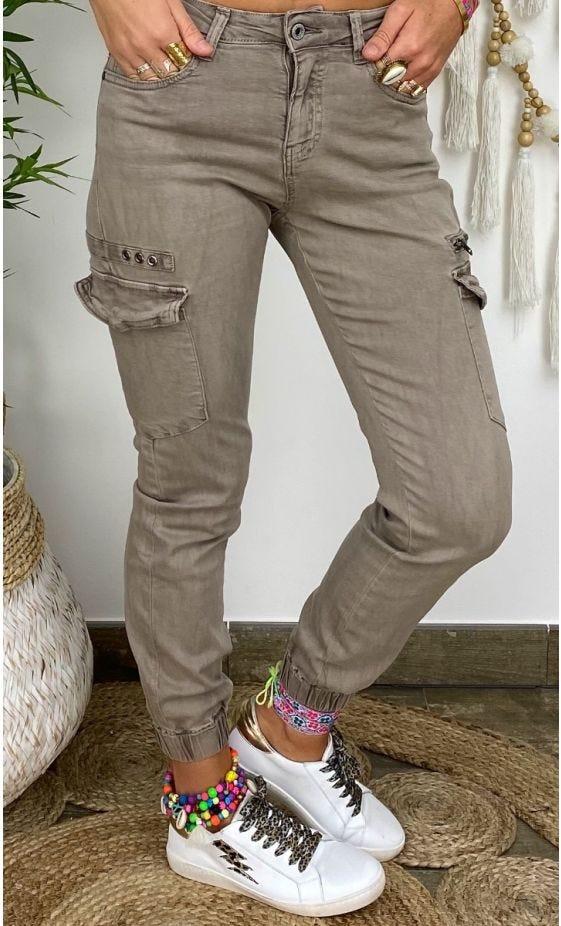 Pantalon Slim Cargo Miguel Taupe
