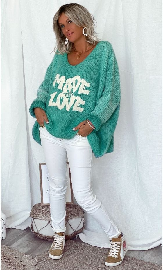 Pull Zack Oversize Vert Turquoise Made With Love