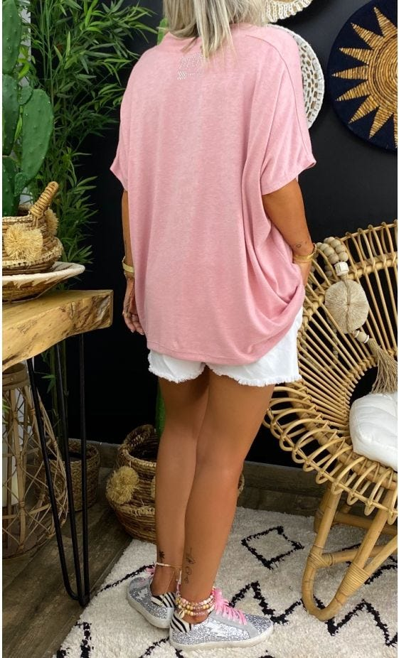 T-Shirt Paolo MC Oversize Maille Doudou Rose Clair