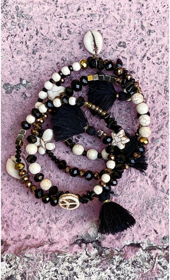 Bracelet De Cheville Magik Twinkle Peace Pompon Noir
