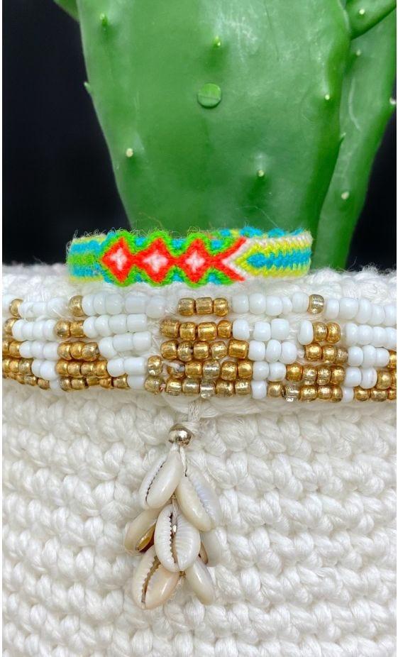 Bracelet Tissé Gustavo Chevrons Vert