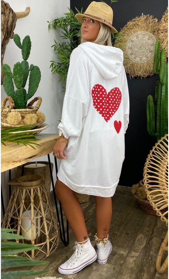 Veste Sirine Sweat Fin Oversize Blanc Lovely Heart Rouge