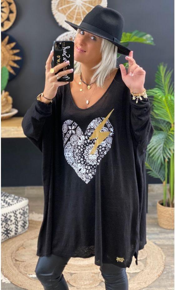 T-Shirt Gabin Oversize Lin Noir Love Mandala