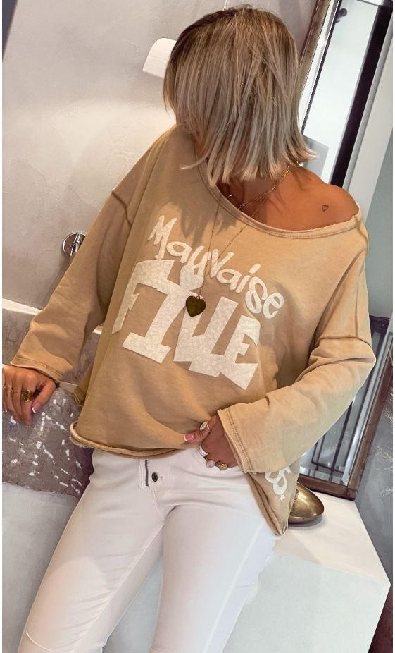 Sweat Carl Camel Mauvaise Fille Blanc