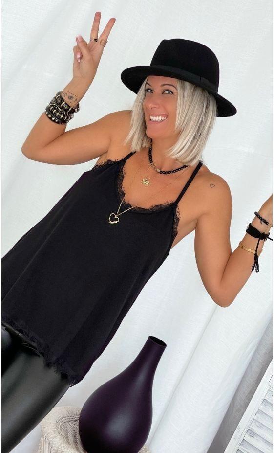 Caraco Lily Maille Doudou Noir