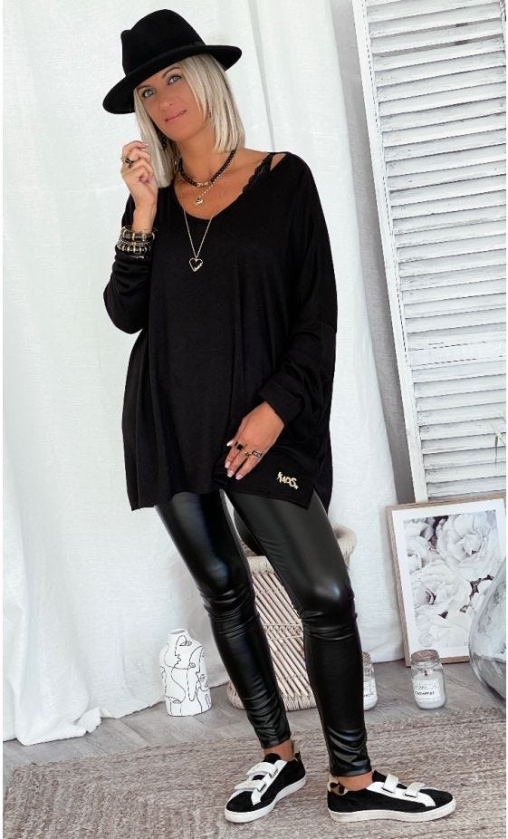 T-Shirt Gabin ML Oversize Maille Doudou Noir
