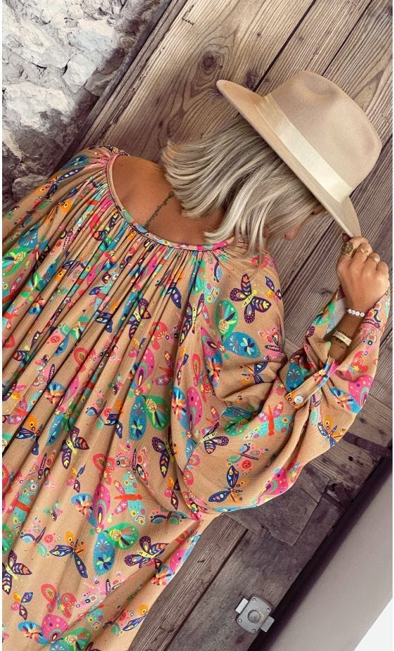 Tunique Clémence Oversize Camel Beautiful Butterfly