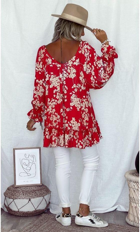 Tunique Tess ML Rouge Flores