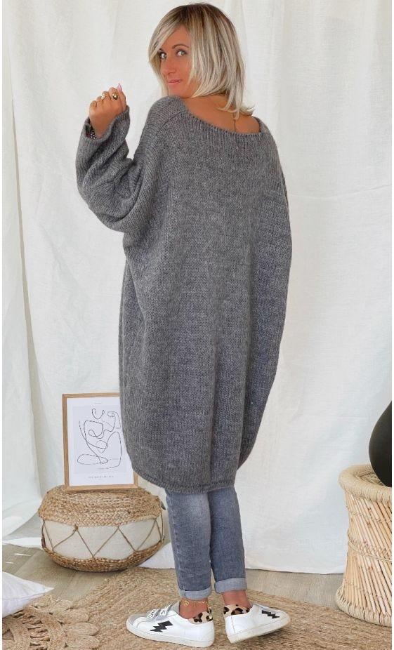 Petite Robe Pull Mady Oversize Gris Hearts Rose