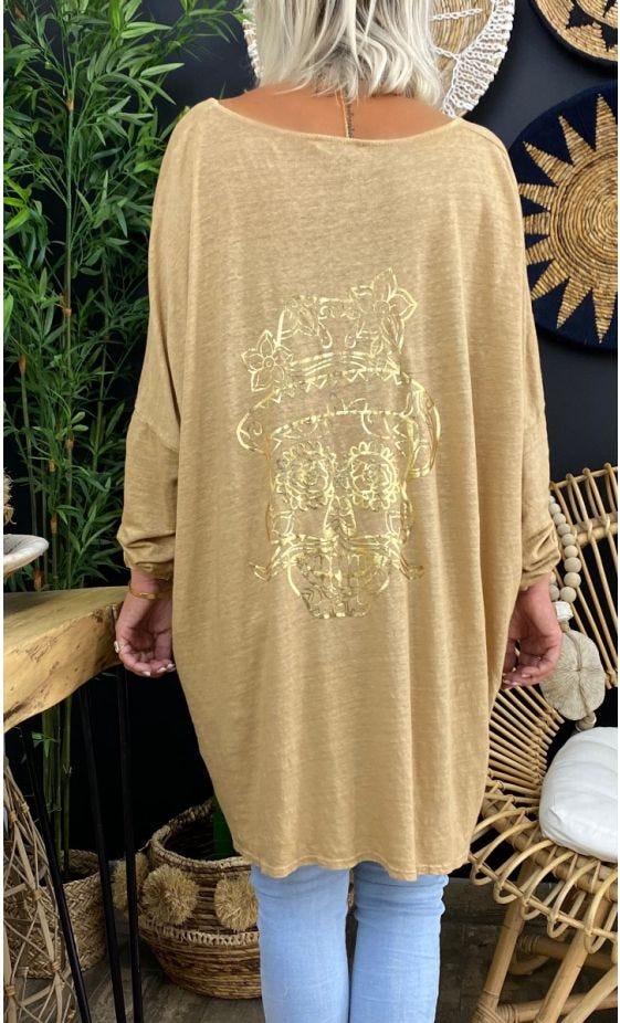 T-Shirt Gabin Oversize Lin Camel Crazy Skull