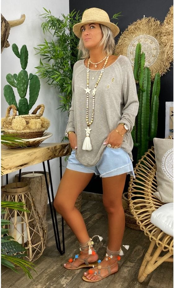 T-Shirt Isma Taupe Little Flash Or